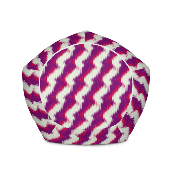White and Violet Stripes Bean Bag Chair With Filling