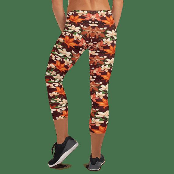 Wild Flowers Leggings - Stylish Floral Capri Leggings