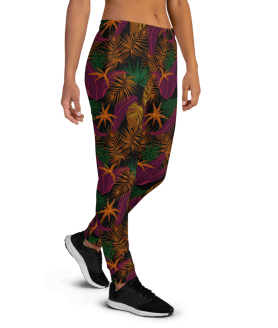 Women's Amazon Jungles Flowers and Leaves Gym Fitness Jogger Pants with Pockets