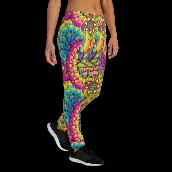 Women's Crazy Colorful Vibrant Pop Art Fun Gym Workout Jogger Pants with Pockets