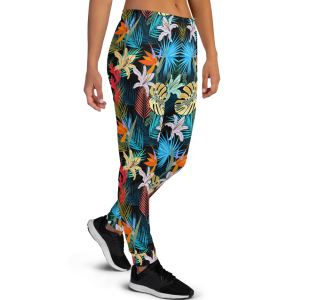 Women's Great Bahamas Tropical Flowers Workout Fitness Jogger Pants with Pockets