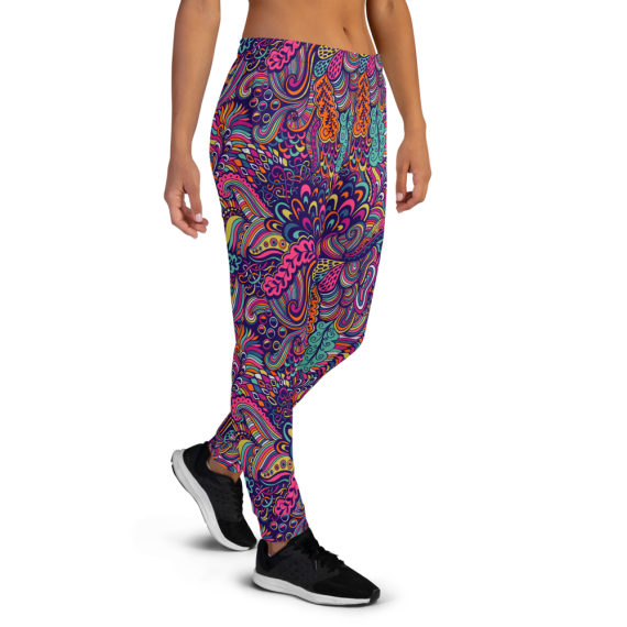 Women's Great Summer Endless Flowers Love Gym Workout Jogger Pants with Pockets