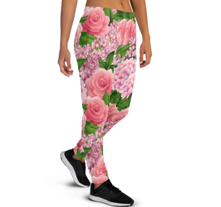 Women's Pink Rose and Lilac Flowers Workout Running Jogger Pants with Pockets