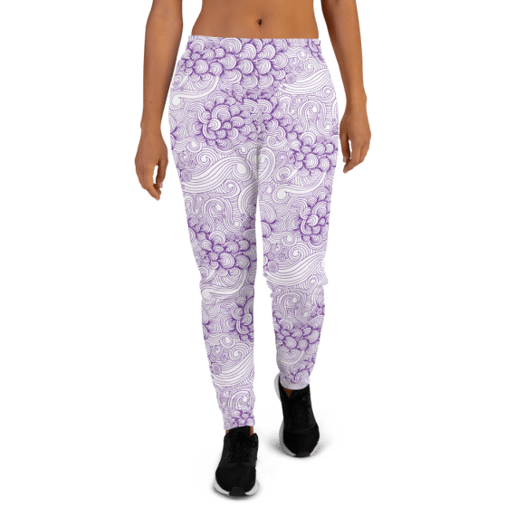 Women's Purple Waves and Shells Gym Joggers with Pockets, (XS-3XL) Relaxed Fit