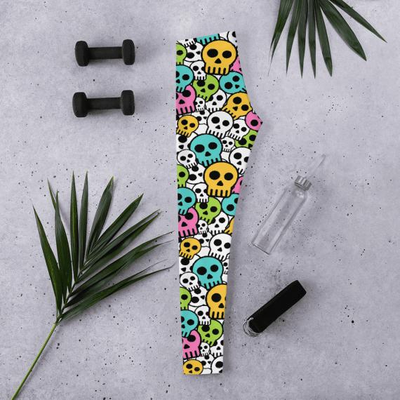 Best Colorful Dead Sugar Skull Leggings - New Colorful Candy Skulls Leggings