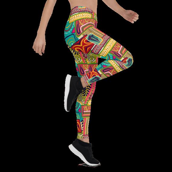 Colorful Mystic Decorative Pattern Leggings, Ethnic Native American Pride Pants