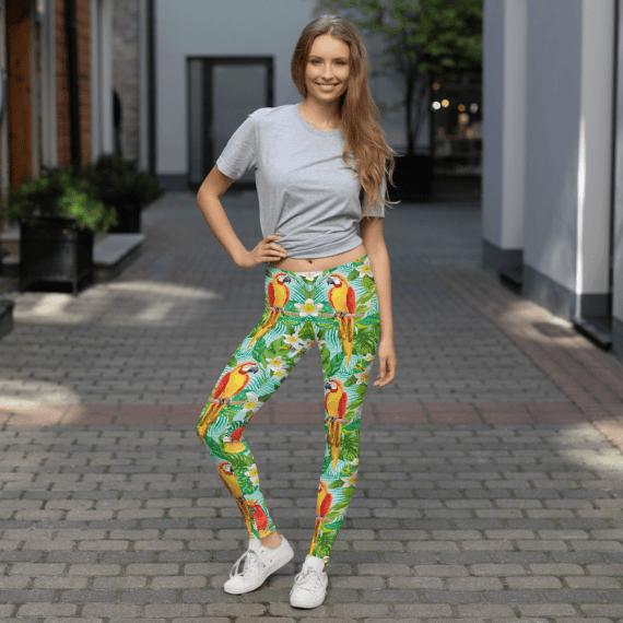 Colorful Parrot Leggings - Colorful Tropical Floral Parrot Birds Leggings