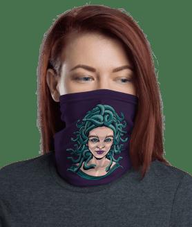 New Medusa Girl with Snakes Face Mask, Neck Gaiter, Headwear , Scarf, Bandana