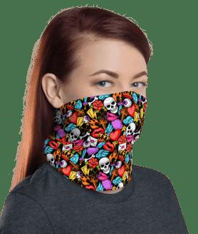 Protective Death Skull Tattoo Face Mask, Neck Gaiter, Headwear , Scarf, Bandana