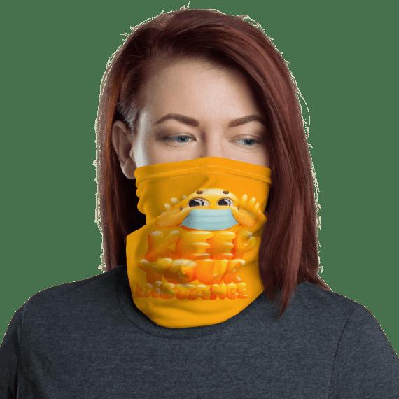 Protective Keep Your Distance Emoji Face Mask, Neck Gaiter, Headwear, Scarf, Bandana