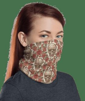 Protective Skulls and Roses Neck Gaiter, Face Mask, Headwear , Scarf, Bandana