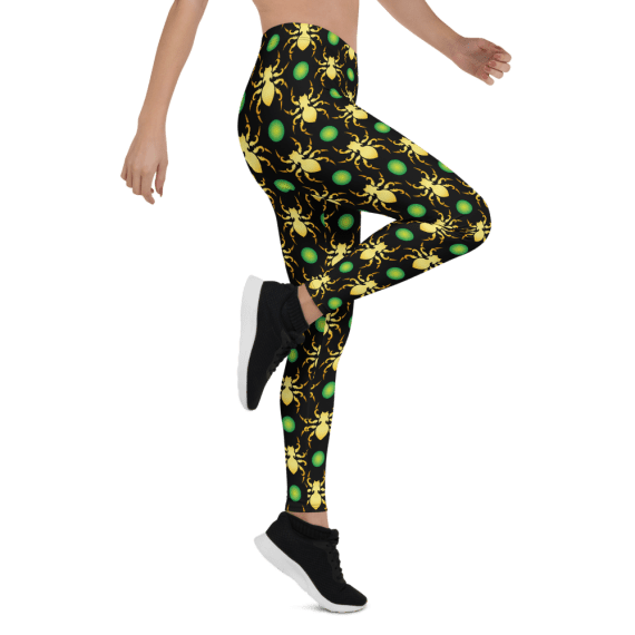 Spider Halloween Leggings - Golden Spooky Spider Yoga Pants