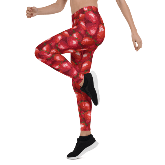 Strawberry Women's Yoga Workout Leggings, Juicy Fruit Leggings, Workout Leggings