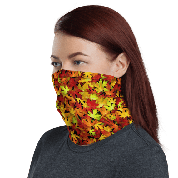Washable & Reusable Autumn Leaves Protective Face Mask, Bandanna, Scarf, Neck Gaiter, Headwear, Headband Hair Cover, Mouth Cover, Nose Cover, Scarves
