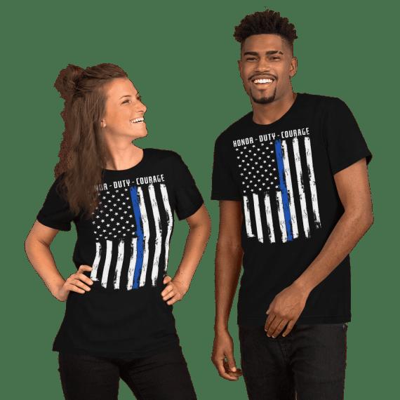 Honor Duty Courage USA Flag Unisex T-Shirt, Vintage American Flag Shirt For Patriotic Men & Women