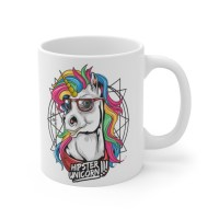 Hipster Animal Mug, Hipster Unicorn Coffee Cup, Colorful Mug Gift, Funny Unicorn Mug