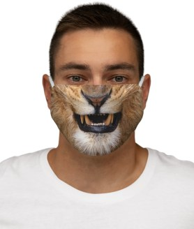 Lion Face Mask, Angry Lion Reusable Washable Wild Animal Face Mask