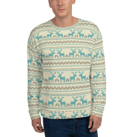 Cute Christmas Deer Winter Sweater, Unisex Stylish Xmas Sweatshirt