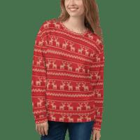Buffalo Deer Cozy Holiday Sweatshirt, Unisex knitted Christmas Sweater in red Reindeer Design Print