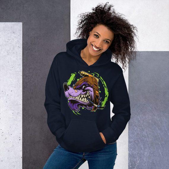 Wolf Cartoon Hoodie, Unisex Colorful Hooded Pullover Sweatshirt
