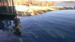 Mom decided Tommy needed a swim in the spa/pool at Grand Lake over Thanksgiving. He loved it.