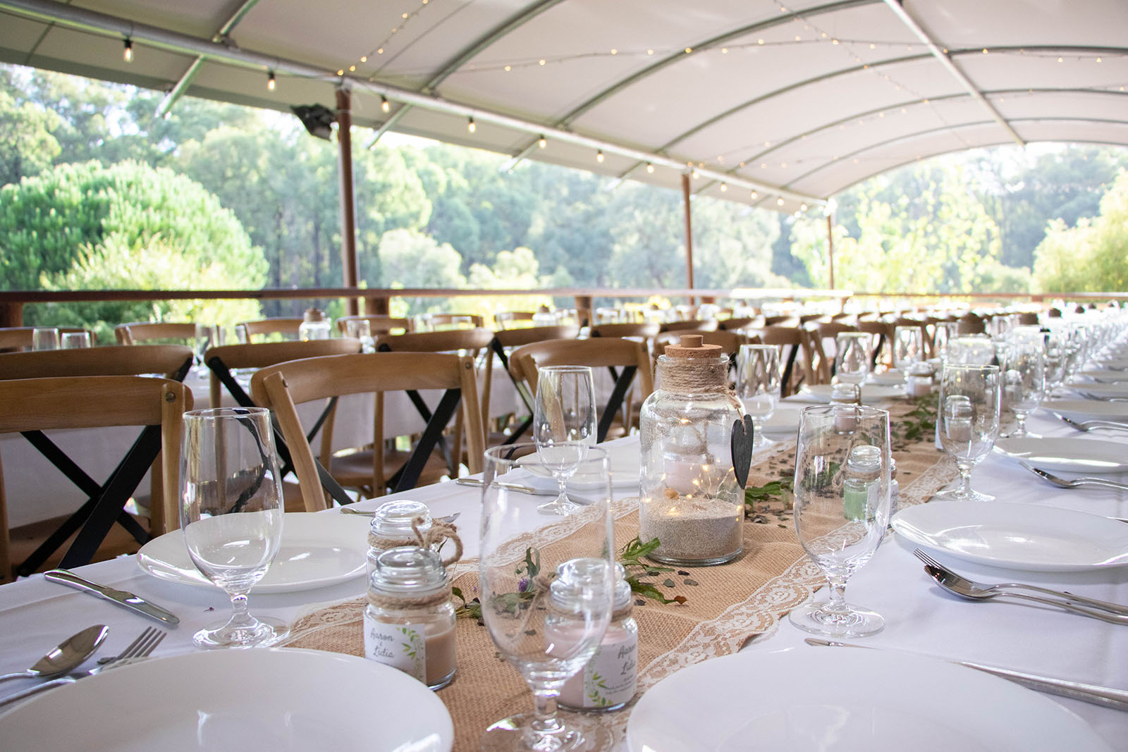 Wedding reception table settings at Noble River Estate Dwellingup wedding venue