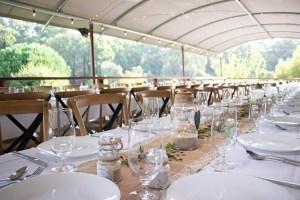 Wedding reception table settings at Noble River Estate Dwellingup wedding venue