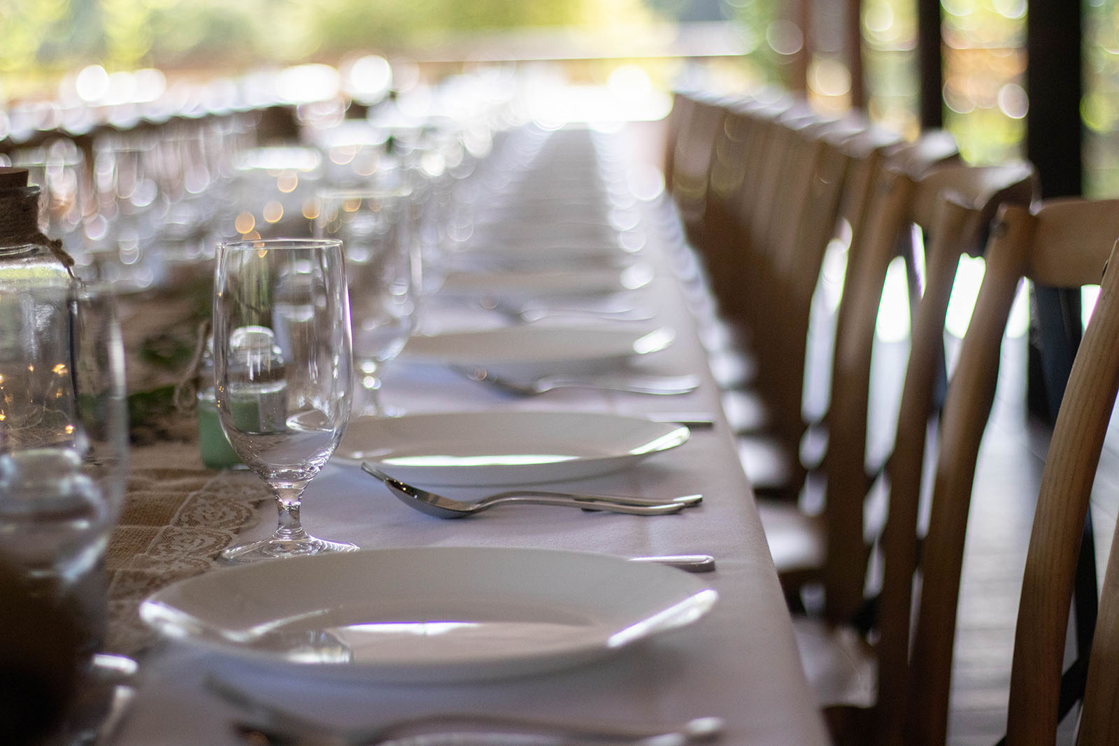 Wedding reception tables at Noble River Estate Dwellingup wedding venue