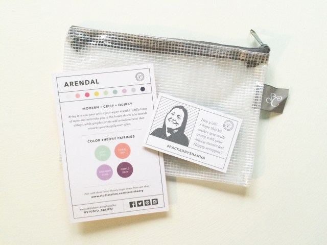 Every kit comes in a handy zipper-pouch and includes a notecard about the kit and who packed it. (Thanks Shanna!)