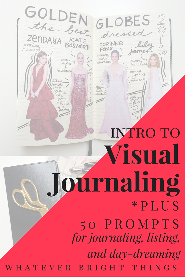 Visual Journaling is a great way to combine image and text to reflect on your life, experiences, and all the bright things you love. I've also created a list of 50 Visual Journaling Prompts to get you started!