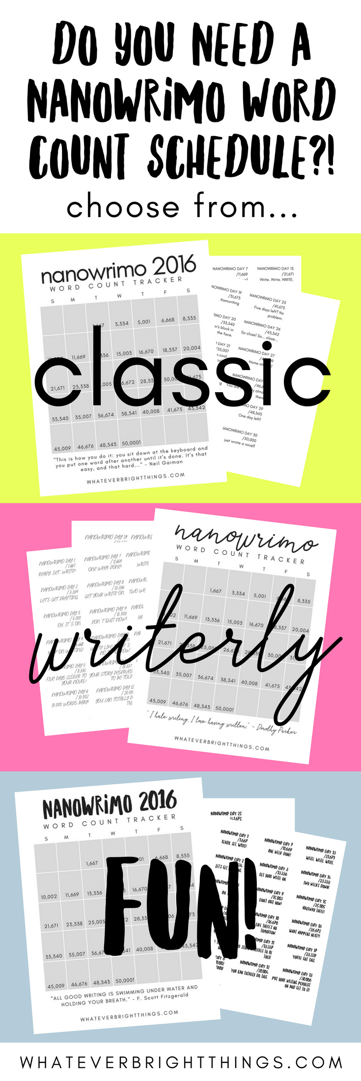 Do you need a NaNoWriMo Word Count Schedule?! With three different styles to choose from, you're sure to find one that you love. You can even use the schedule as planner stickers! Click through to download the FREE writing printables!