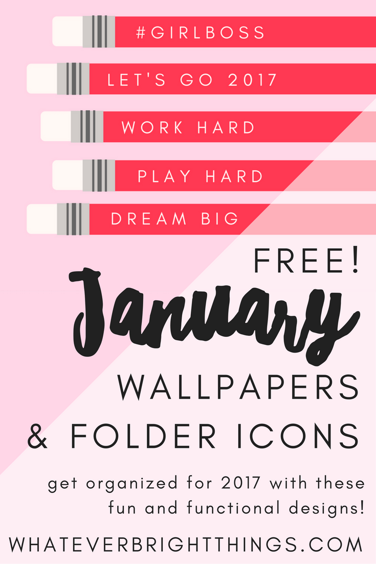 Decorate your Desktop for 2017 with these free January 2017 Desktop Wallpapers & Folder Icons! These fun, functional, and inspirational designs will help you get - and stay - organized for the New Year!