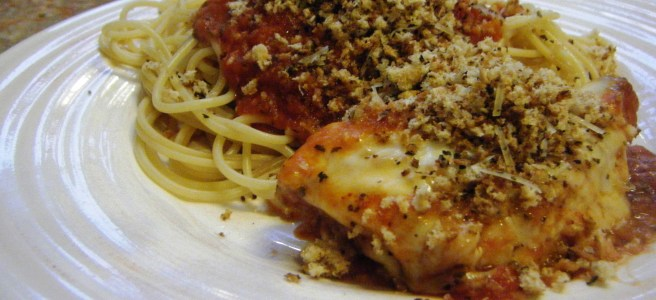 Chicken Parmesan featuring (unfried) chicken and homemade tomato sauce, all cooked in one skillet.