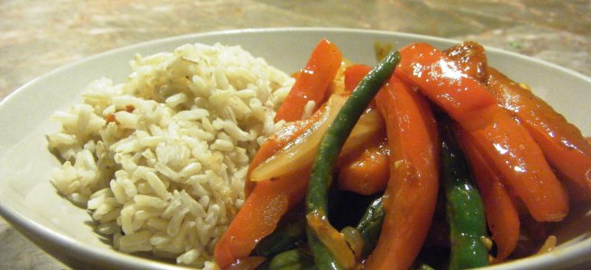 "Szechuan stir fry, commonly known as ""chicken and rice"" in our household."