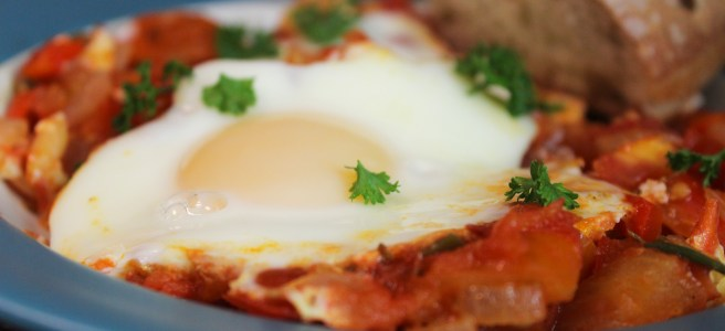 This recipe is a twist on eggs poached in tomato sauce.