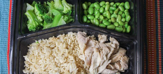 Brown rice + chicken thigh + broccoli + edamame
