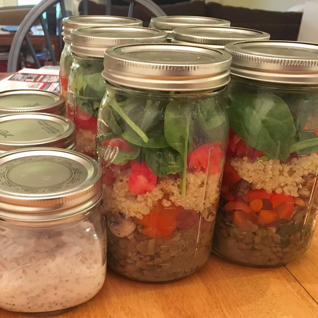 Herbed lentil and quinoa salad in jars
