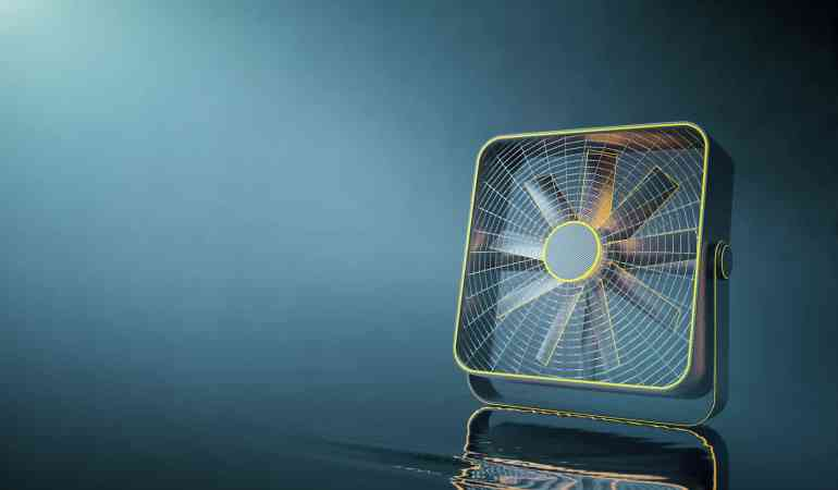 Closeup of yellow hi-tech fan placed on water with ripple and reflections. Grey background with copy space. 3D Rendering