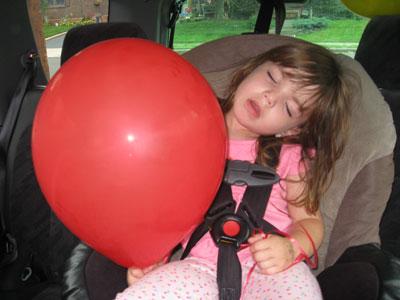 Lily, asleep on the way home.