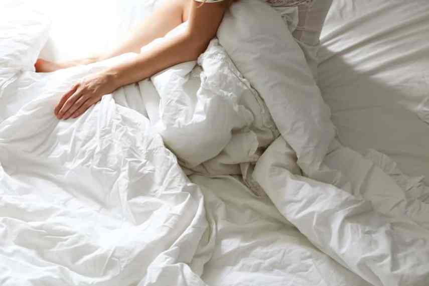woman in white sheets
