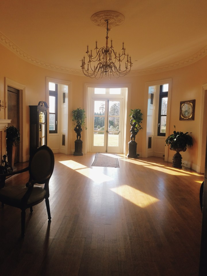 Sun shining through the office room at Oheka Castle on Long Island