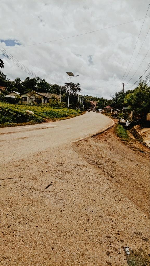 A winding road in Pak Beng, Laos