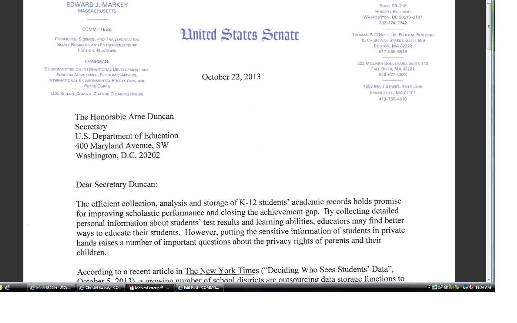 Letter To U S Secretary Of Education Arne Duncan
