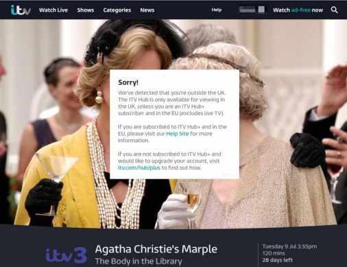 ITV Hub Geo-error