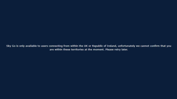 Sky Go Error Message