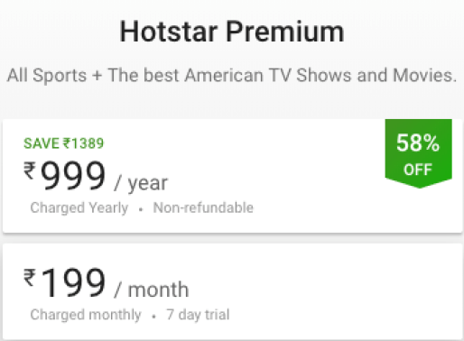 Hotstar Subscription
