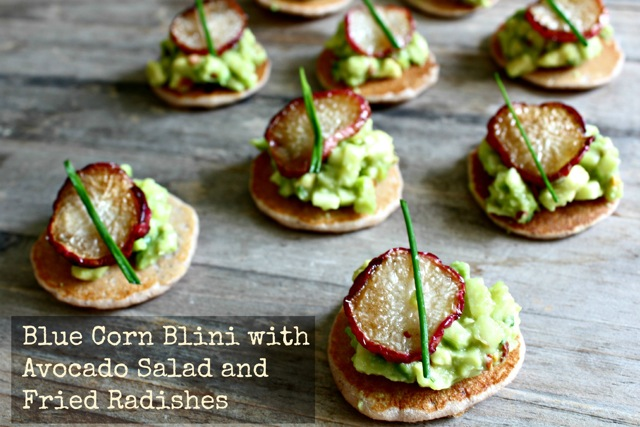 blini, avocado, radishes, Russian recipes, Jewish recipes, kosher recipes, apples