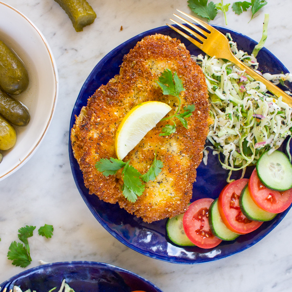 Pickle-Brined Schnitzel with Everything Slaw