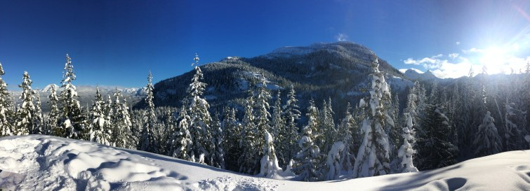 Snow shoeing by Squamish