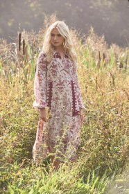 Laura Ashle SS17, Tie Neck Printed Linen Dress